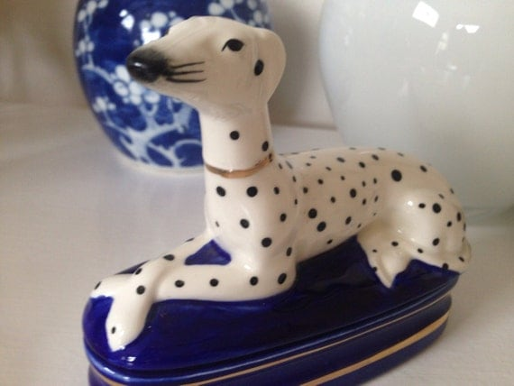 Vintage Fitz And Floyd Dalmatian Dog Trinket Box Fitz And