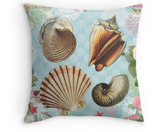 sea shells home decor beach throw pillow seashells cushion sea shells pillow - Large Decorative Pillows