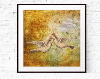 Love Art, Love Print, Love Birds, Dove Print, Dove Wall Art, Boho Art, Bohemian Decor, Newlywed Gift, Gift for Newlyweds,Gift for Girlfriend