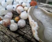 108 Mala Beads. white quartz. natural jade. yellow jade. rudraksha. Mala Beads. Handknotted Prayer Beads. Heart. Yoga Jewelry.