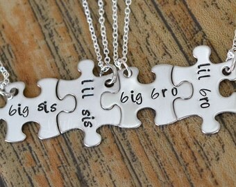 Sibling Necklace, Puzzle Piece Necklace, Brother Sister gifts, Hand Stamped, Personalized