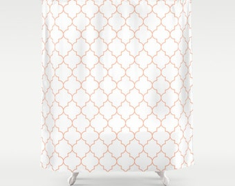 Peach Shower Curtain, Quatrefoil, Fabric Shower Curtain, Standard or Extra Long, Bathroom Shower Curtain, Girls Bathroom Decor, Gift for Her