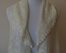 Detailed Long Knit Cardigan or Vest Open Style One Size Creamy White Color