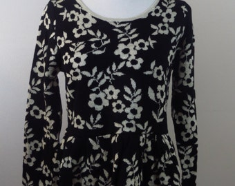 Black Floral Sweater One Size