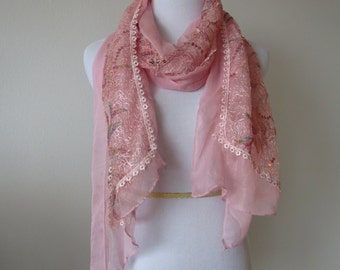 Embroidered Lace Scarf Light Pink Color can be used as Shawl