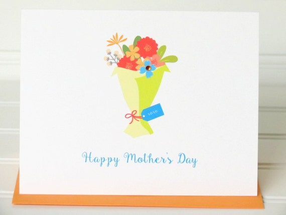 Mother's Day Greeting Card with Floral Bouquet, Matching Colored Envelope, Seal, Postage Stamp, and Personalized for the Recipient