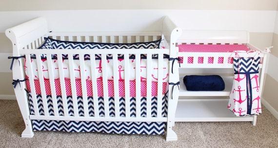 nautical crib bedding set hot pink navy by littlemonkishop. Black Bedroom Furniture Sets. Home Design Ideas