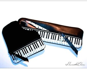Pencil case  leather  & fabricUNIQUE PIANO KEYBOARD MUSIC