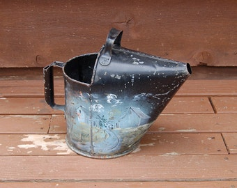 Vintage Painted Watering Can, Hand Painted Watering Can