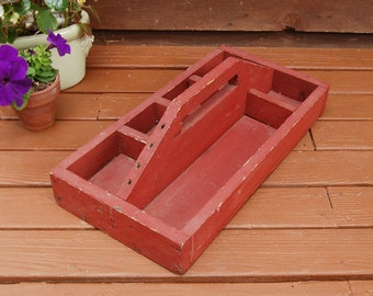Wooden Tool Box, Vintage Wood Tool Tray, Dark Red Wood Tool Caddy, Gathering Box