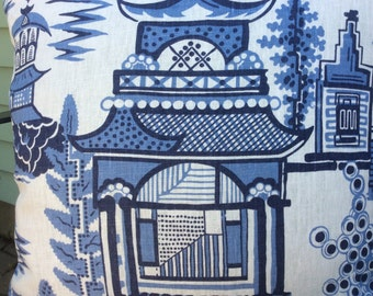 Schumacher Pillow Cover in Blue and White Nanjing Design, White Linen Backing