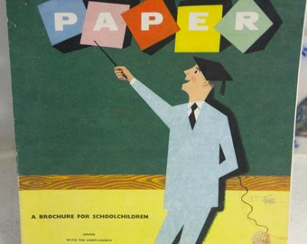 Fantastic Vintage 1960's Large Foldout Brochure on The Story of Paper
