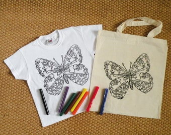 Butterfly kids T-shirt for colouring Hand screen printed