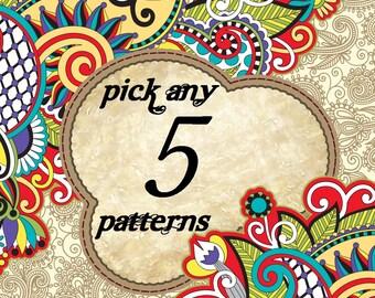 Choose any 5 Cross stitch patterns!