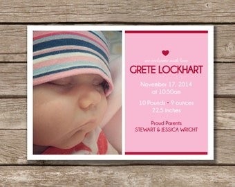 Simple, Modern, & Fun Baby Announcement, Printable, Gender Neutral, Digital File, Photo Card, Made to Order