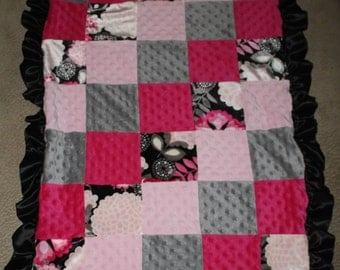 Quilted Minky Baby Girl Blanket with Satin Ruffles