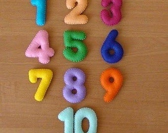 Colorful felt numbers_felt numbers_preschool-handmade numbers_felt numbers-educational game-stuffed numbers