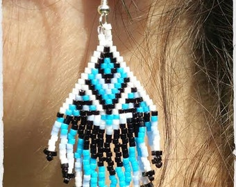 Woven earrings, Indian style.