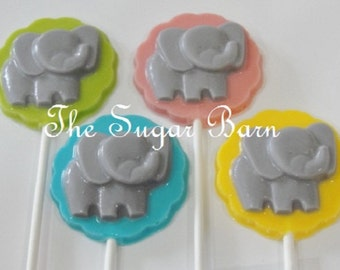 ELEPHANT CHOCOLATE Lollipops*12 Count*Baby Shower Favor*Zoo Animals*New Baby