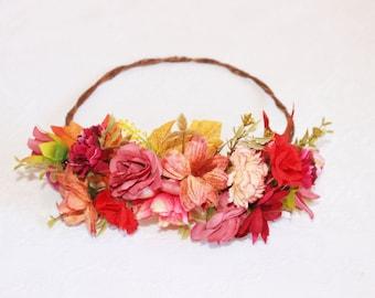 Flower Crown, Autumn, fall, orange, season, festive, leaves, nature, headpiece, spring, romantic