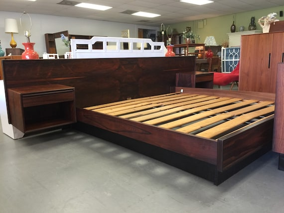 danish modern king rosewood platform bed by cyclictrends on etsy. Black Bedroom Furniture Sets. Home Design Ideas