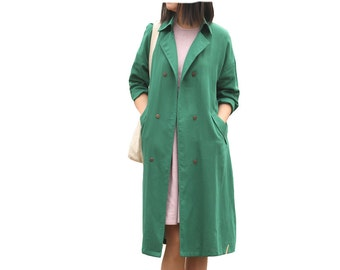 Green linen double breast trench coat