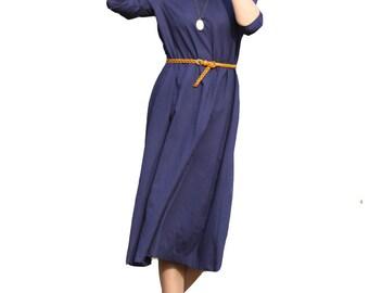 Blue mid sleeve round neck long dress