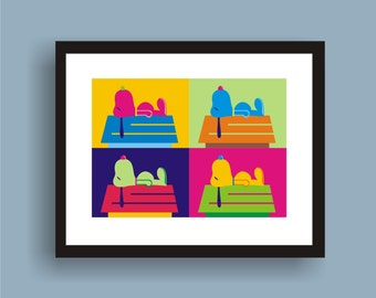 Snoopy - Pop Art Original Print by C Wiedenheft comes with a white mat and ready to frame.