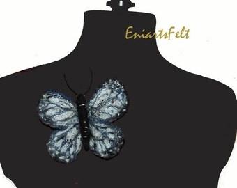 Fiber art black - white butterfly brooch , Felt brooch , Felt jewelry , Felt accessory , Free embroidery felt brooch