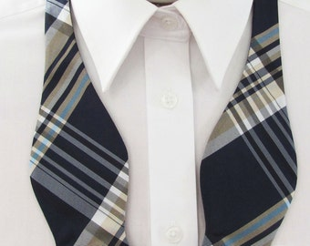 Mens Bow Tie Navy Blue Yellow Gold And White Stripes Plaid Self Tie Bow Ties
