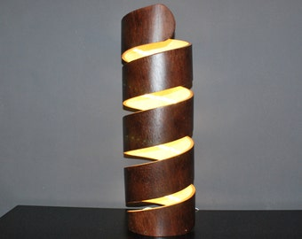 DNA desk led lamp made from bent plywood.