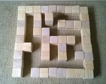 Set of 50 - 1.5 inch Unfinished toy Wooden Blocks / Building Blocks made from Pine