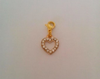 Exquisite clip on charm 'heart' shaped feature with rhinestones for Anklets/Bracelets.
