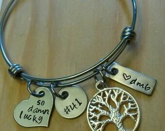 Hand Stamped Wire Bangle Bracelet - Adjustable Bracelet -