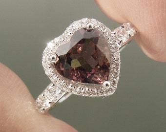 Solid 14K White Gold Heart 6MM Natural Tourmaline Ring