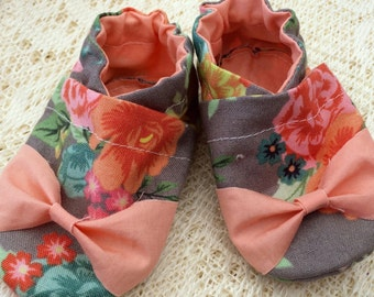 Baby Girl Shoes - Gray Floral w/ Coral Bow - Soft Sole Shoes