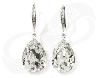Bridesmaid Earings Bridesmaid Swarovski Crystal Teardrop Earrings Bridal Jewelry Dangle Earring Wedding Jewelry Gift Diamond Look Clearance
