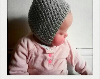 knitted baby hat, baby bonnet, knitted pixie cap, baby shower gift,  light grey merino wool with button closure, 0-6 months, made to order