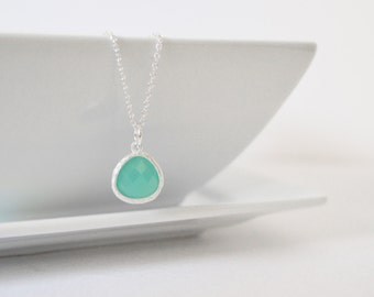 Light Mint Aqua Necklace, Sterling Silver Chain, Mint Green Crystal Pendant,