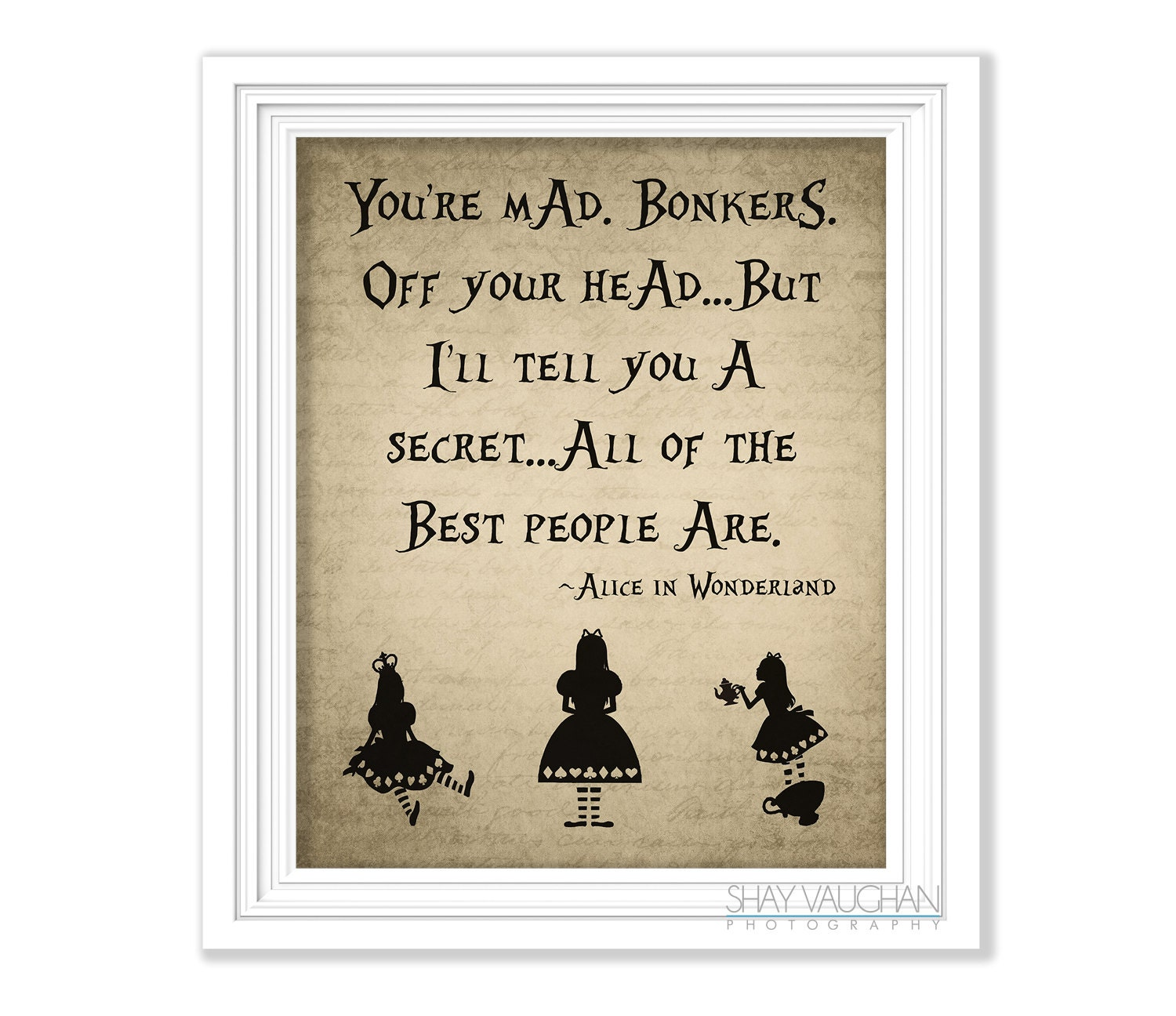 Printable Alice In Wonderland Quotes: Alice In Wonderland Quote Print You're Mad