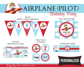 Airplane (Pilot) Birthday Party Package PRINTABLE - DIY Personalized for Boys - Plane Aeroplane with Little Boy Pilot - Blue Red