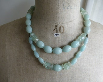 Necklace of natural amazonite oval beads