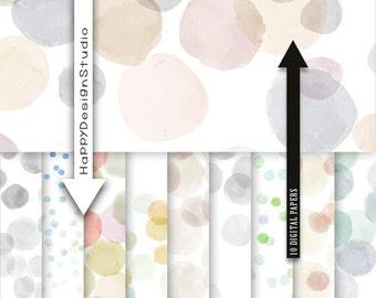 Bokeh watercolor digital paper pack dots hand painted dot scrapbooking paper natural neutral wedding earthtone dot polka dot set watercolor