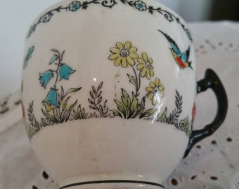 Vintage Collingwood China Cup With Hand Painted Raised Decorations Birds And Flowers Pattern 5314 Reserved