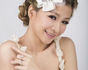 Bridal headpiece ~ Laces, Ribbon, swarovski pearls and crystals