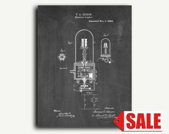 Patent Print - Thomas Edison Electric Light Patent Wall Art Poster