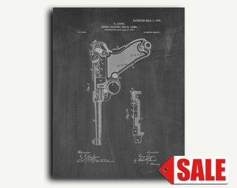 Patent Poster - Luger Recoil Loading Small Arms Gun Patent Wall Art Poster Print