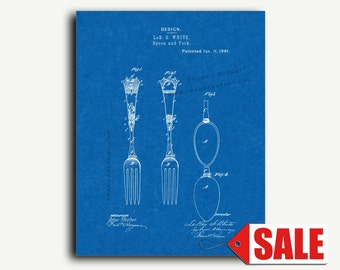 Patent Art Print - Spoon And Fork Patent Wall Art Poster Print
