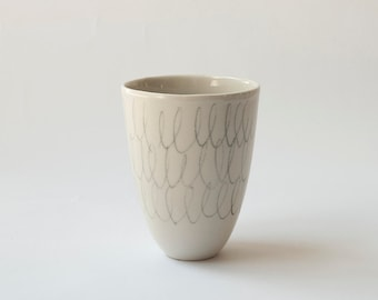 Ceramic tumbler H: 4″ / White Ceramic cup / Porcelain cup with free hand drawing / Tea cup / Coffee cup / Modern Ceramics