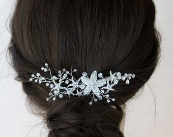 Beach Wedding Hairpiece Headpiece Rhinestone Starfish Bridal Clip Silver Wedding Bride